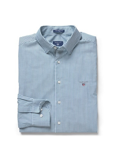 Gant Çizgili Slim Gömlek Mavi